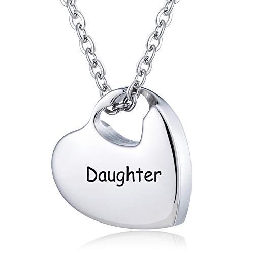 Amody Acero Inoxidable Corazón Hueco Grabado Daughter Collar de urnas para el Recuerdo de Las Cenizas conmemorativo cremación Colgante Joyas