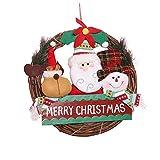 Corona de Navidad para Puerta de Entrada Reno Muñeco de Nieve Papá Noel Corona de ratán Navidad Decoración de Vacaciones de Invierno Colgador de Puerta de casa