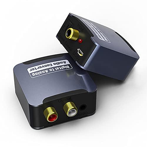 Convertidor De Audio, Convertidor Fibra SPDIF a Analógico L/R RCA Adaptador De Fibra Toslink a Conector De 3,5 Mm para TV, PS4, Reproductor, DVD, Decodificador Red, Sistema De Cine En Casa