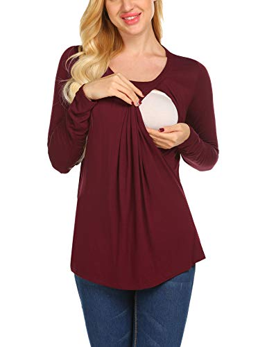 Unibelle Damen Umstandsshirt Stillshirt lustig Langarm Mit Stillfunktion Schwanger T-Shirt Weinrot XXL