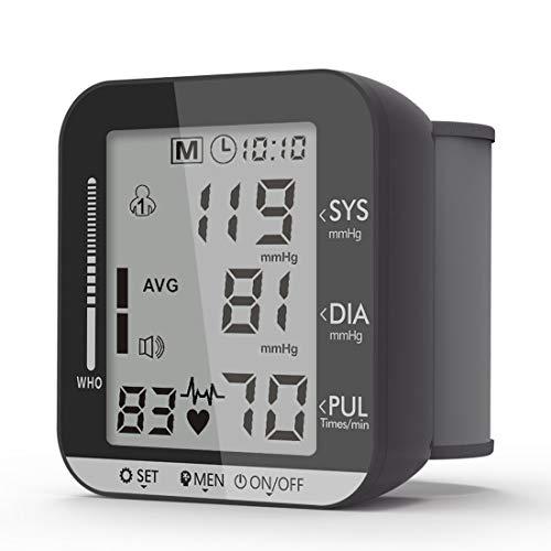 Monitor de Presión Arterial de Muñeca, Baumanómetro Digital Preciso con Pantalla LCD Grande, Función Inteligente de Detectar Presión Transmisión, 2x99 Datos de Memoria (Negro...