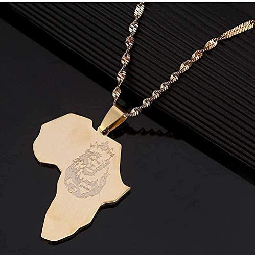 ZJJLWL Co.,ltd Collar de Acero Inoxidable África León corazón Mapa Collar Color Oro Mapa Africano Regalo para Hombres Mujeres joyería de Cadena