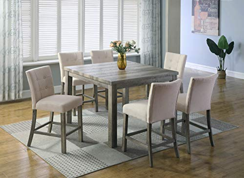 Best Master Furniture Hadley 7pcs Counter Height Table Set, Light Grey
