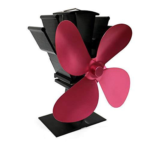 Kibola - Estufas con 4 aspas alimentadas por el calor, ventilador de chimenea, leña, ventilador de distribución de calor, 8 colores opcionales