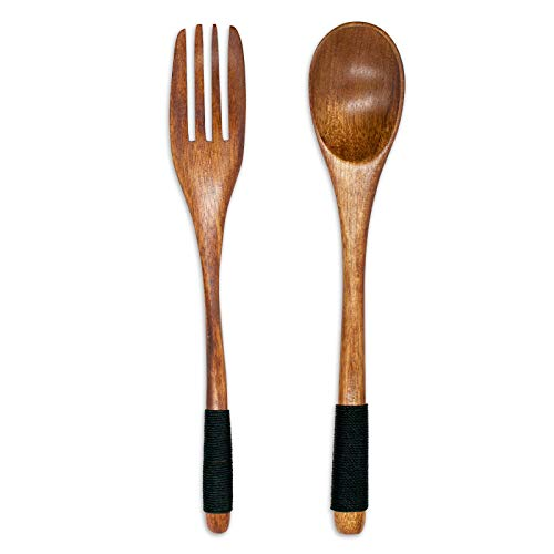 Wooden Flatware, Natural wood Tableware, Salad Servers, Wooden Spoons and Forks, Handmade Tied Line Non-slip Reusable Flatware Cutlery Set (2Pcs)