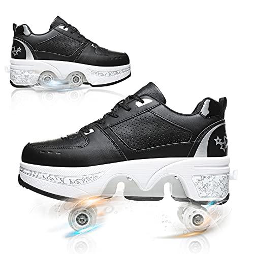 YUNWANG Patines De Ruedas De Doble Uso Profesionales Zapatos De Rodillos Patinaje sobre Patines De Hielo 4 Ruedas para Niñas Y Niños Transpirables Y Cómodos