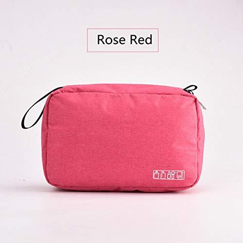 PoplarSun Femmes Hanging Sac à cosmétiques Multifonction Organisateur Voyage Toiletry Wash Make up Pochette de Rangement Esthéticienne Pliant Sac de Maquillage (Color : Rose Red)