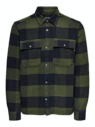 ONLY & SONS Herren ONSSCOTT LS Check Flannel Overshirt Hemd, Olive Night, L