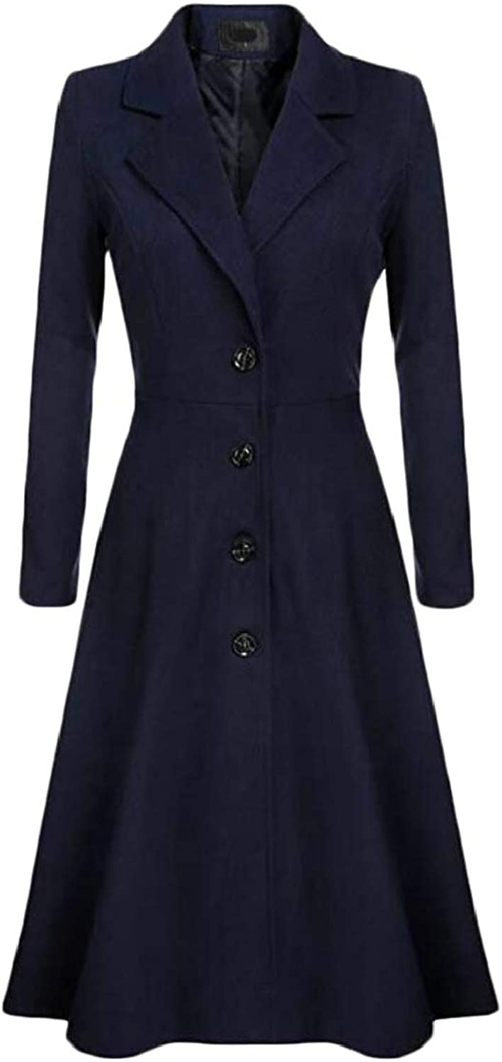 Lutratocro Women Casual Lapel Neck Single Breasted Swing Lined Pleated Trenchcoats