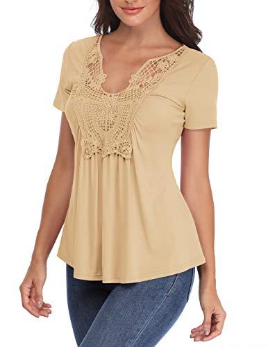 MISS MOLY V-Ausschnitt Tops für Frauen Lady Bluse mit kurzen Ärmeln Geraffte Front Chest Spitze Licht Apricot Classy Sweatshirt - M