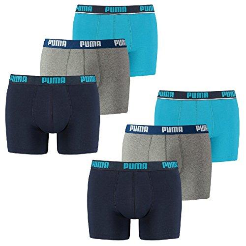 6 er Pack Puma Boxer Boxershorts Men Outline Unterwäsche Catbrand PROMO, Farbe:056 - blue;Bekleidungsgröße:M