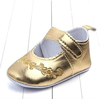 Baby Shoes Baby Girl First Walkers PU Leather Cute Princess Crib Shoes, Size:13cm(Light Blue) Baby Items (Color : Gold)