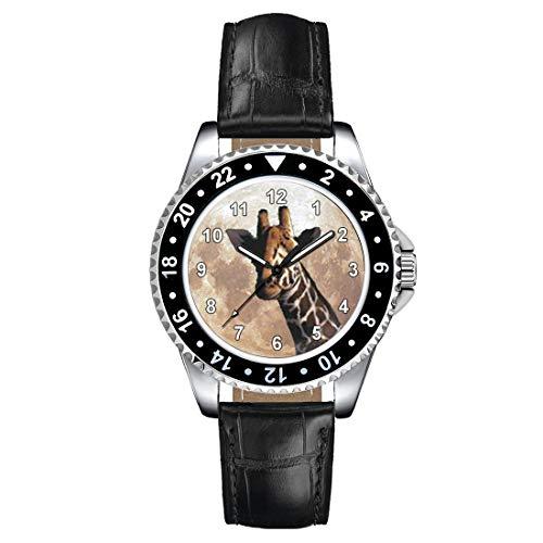 Timest - Giraffe - Motiv Uhr Unisex mit Lederarmband in schwarz Rund Analog Quarz CSE074LB