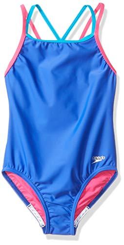 Speedo Mädchen Badeanzug Einteiler Solid Cross Back Multi Träger, Mädchen, Criss Cross, Badeanzug, Dark Peri, 16