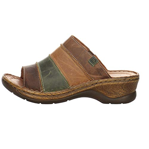 Josef Seibel Damen Pantoletten Catalonia 64,Weite G (Normal),Slipper,Slides,Sandalen,Sommerschuhe,Lady,Braun (Brandy-Multi),39 EU / 6 UK