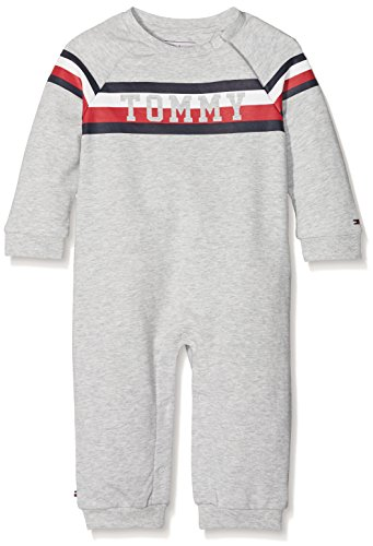 Tommy Hilfiger Baby-Unisex Bright Tommy Boy Coverall L/S Strampler, Grau (Light Grey Htr 061), 62