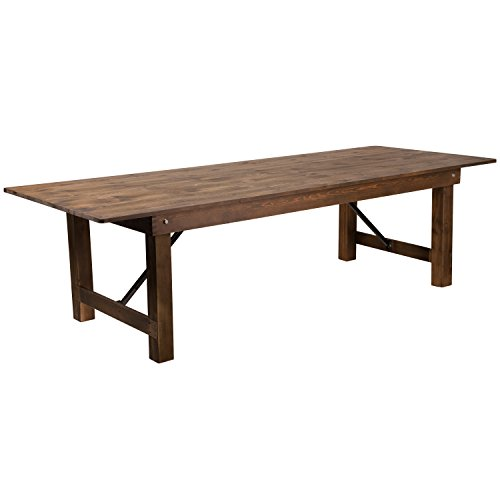 "Flash Furniture HERCULES Series 9' x 40"" Rectangular Antique Rustic Solid Pine Folding Farm Table"