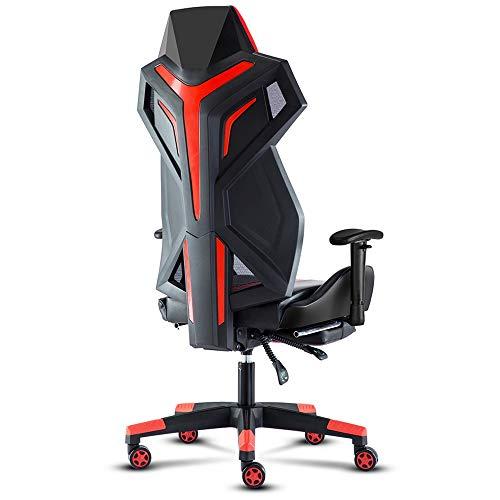 LJFYXZ Racing Stuhl Bürostuhl Chefsessel Atmungsaktive Rückenlehne Ergonomischer Sitz Verstellbare Armlehne Moderne Einfachheit E-Sportspielstuhl Tragende 250kg Rot Weiß Blau (Farbe : Rot)