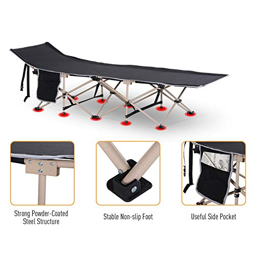 Outsunny Single Person Camping Folding Cot Outdoor Patio Portable Military Sleeping Bed Travel Guest Leisure Fishing with Side Pocket and Carry Bag - Black