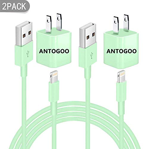 Phone Charger, Phone Charger with Wall Plug, USB Data Charging Sync, Compatible with iPhone X / 8 Plus / 7 Plus / 6s / 6 Plus / 6s Plus / 5 / 5s / 5c / XS/XR/XS Max/iPad/iPod-Green