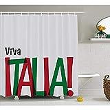 Yeuss Italienische Flagge Duschvorhang, Viva Italia Zitat in Flag Farben National Celebration Lifestyle, Stoff Stoff Badezimmer Dekor Set mit Haken, Ruby Forest grün schwarz