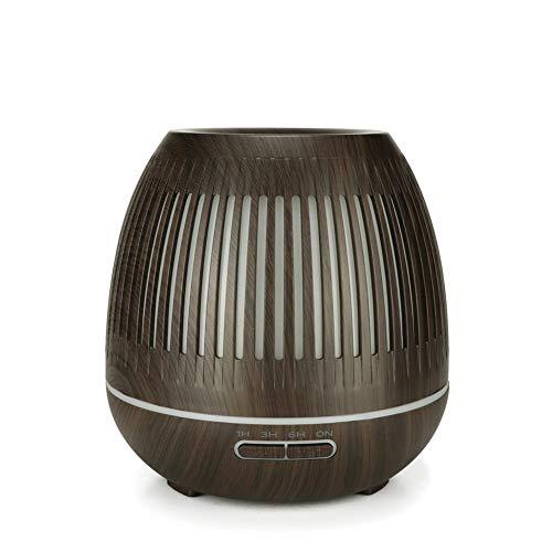 NZHK Ätherisches Öl Diffusor, Air Aroma Luftbefeuchter 7 Farbwechsel LED-Licht 400 Ml Holzmaserung Wasserlos Auto-Shut-Off 7-Farben-LED Für Büro Wohnzimmer,B