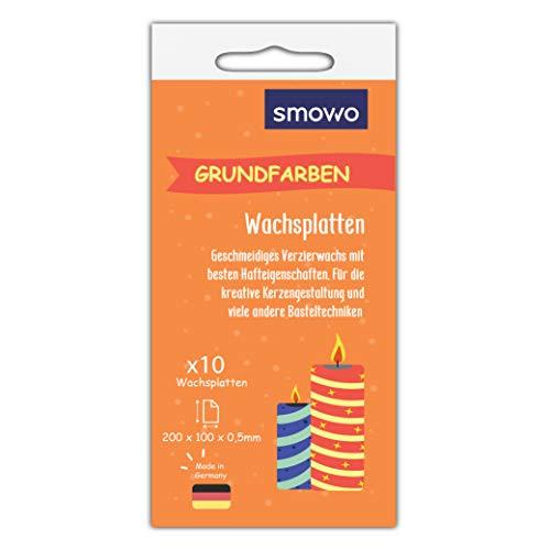 Smowo 10 Grundfarben Wachsplatten 20 x 10cm zum gestalten, dekorieren und verzieren von Kerzen - Verzierwachs zum Basteln - Kerzenplatten Wachs Platten