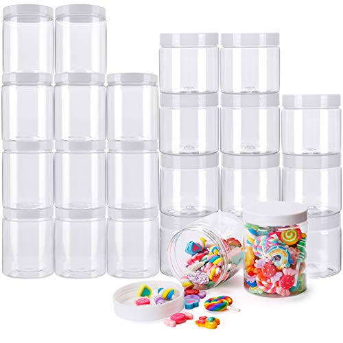 Habbi Slime Containers - 24 Pack Empty Slime Storage Jars 12pcs 6 OZ. & 12pcs 8 OZ. Clear Plastic Food Storage Jars with White Lids for DIY Slime Making, BPA Free