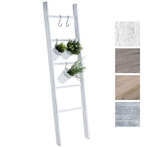 CLP Escalera de Decoración Mariette I Escalera Decorativa de Madera con 5 Peldaños I Toallero en Estilo Rústico I Color: Blanco Envejecido