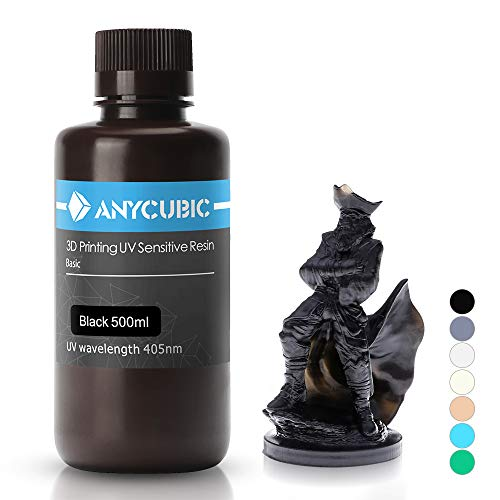 ANYCUBIC 3D Printer UV Resin 405nm Rapid Photopolymer for Photon/S Liquid 3D Resin Universal High Precision for LCD/DLP/SLA 3D Printers, 500ml Black