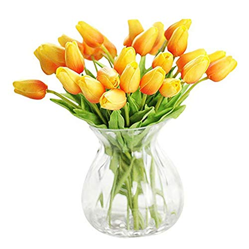 WAQIAGO 30PCS Real-Touch PU Artificial Tulip Flowers for Home Wedding Party Decor