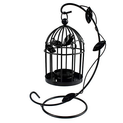 Hosaire 1X Portavelas Decorativos De Velas Candelabros,Hojas y Estilo Jaula de pájaros Decoracion Boda Objetos de La Pared del Jardín Casero Size 22 * 14CM (Negro)