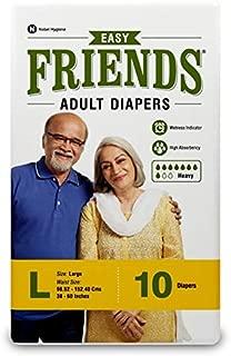 "FRIENDS Easy Unisex Adult Diapers Large Waist Size (38""- 60"" Inch) 10 Pcs"