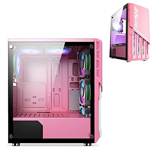 JF-TVQJ Caja Pc Gamer Caja para Computadora Mid-Tower ATX Rosa, Caja para Juegos para PC con 1 Panel De Vidrio Templado, Listo para Refrigeración por Agua, Puertos Superiores USB3.0 / USB2.0 / Audio