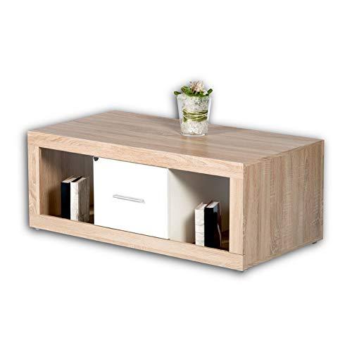 CAN CAN Moderner Couchtisch auf Rollen in Sonoma Eiche Optik, Weiß - mobiler Sofatisch mit Ablagefächern & Schubladen für Ihren Wohnbereich - 115 x 46 x 60 cm (B/H/T)