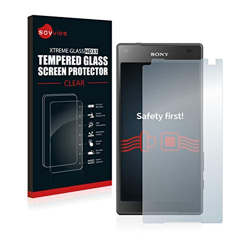 savvies Cristal Templado Compatible con Sony Xperia Z5 Compact Protector Pantalla Vidrio Proteccion 9H Pelicula Anti-Huellas