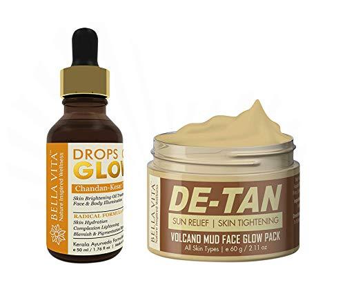 Glamorous Hub Bella Vita Organic Combo De Tan Removal & Fairness Oil & Cream with Drops Of Glow Face Serum & De-Tan Face Pack para mujeres y hombres