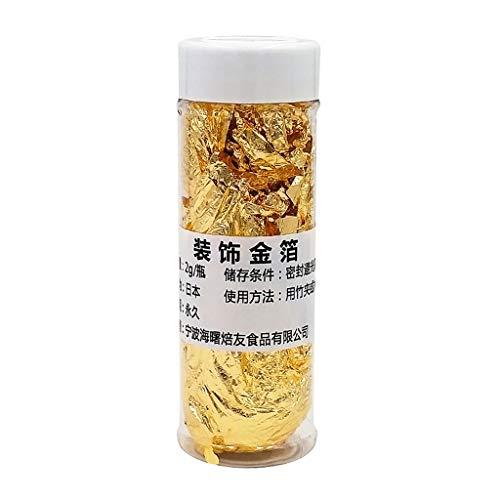 Ycncixwd Lámina comestible de hoja de oro para cocinar bebidas, alimentos, postres, pasteles, helados, decoración de comedor dorado