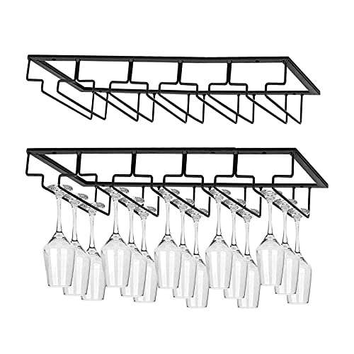 BUDOCI Wine Glass Rack Under Cabinet Stemware Rack 5 Rows Wine Glass Holder Metal Glass Cup Organizer for Kitchen Bar (2Pack, Black)