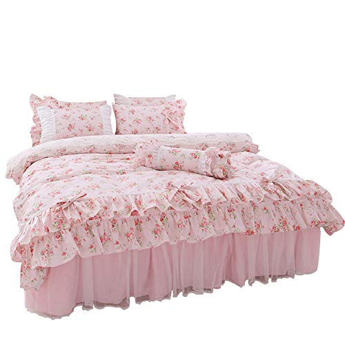 LELVA Romantic Rose Flower Print Bedding for Girls Duvet Cover Set with Bed Skirt Pink Lace Ruffle Floral Shabby Bedding Sets Twin 4 Piece