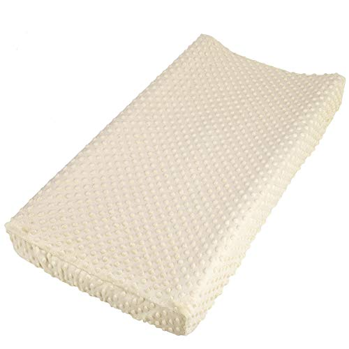 NOZAAM Baby Minky Dot Changing Pad Cover Ultra Soft Changing Table Pad Cover for Diaper Changing Pad Beige