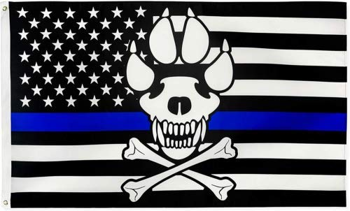American Wholesale Superstore Police Memorial K9 Dog Skull & PAW Blue Lives Matter USA Flag Rough Tex 100D