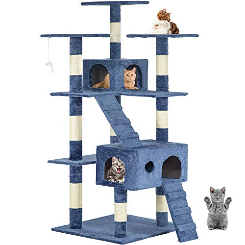 New Navy Blue 73' Cat Tree Scratcher Play House Condo Furniture Post...