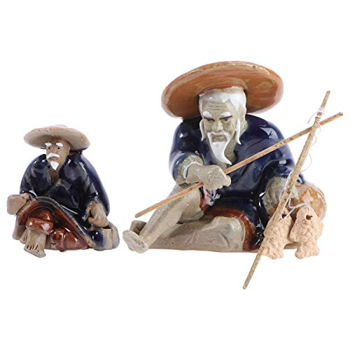 BESTonZON 2Pcs Mini Fischer Figuren Keramik Chinesischen Mudman Sitzen Angeln Garten Statue Ornament für Aquarium Micro Landschaft Bonsai Fee Garten Dekorationen