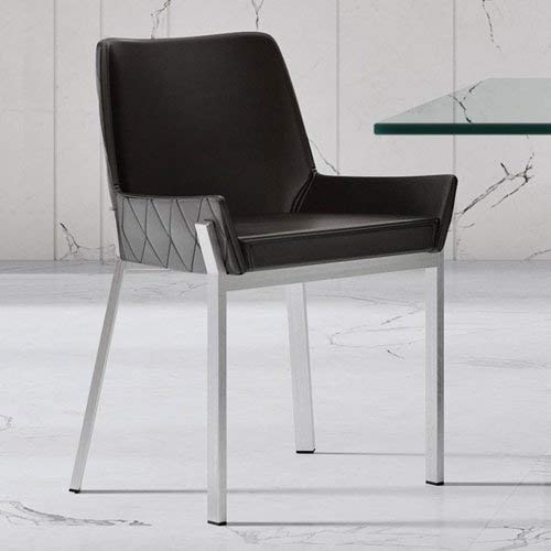 Zuri Furniture Sydney Black Leatherette Dining Chair with Polished Stainless Steel Legs