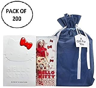 Large Premium Fabric Gift Bags (Pack of 200) Organza with Lining and Satin Ribbon Holiday Christmas – Solid Blue 23.25