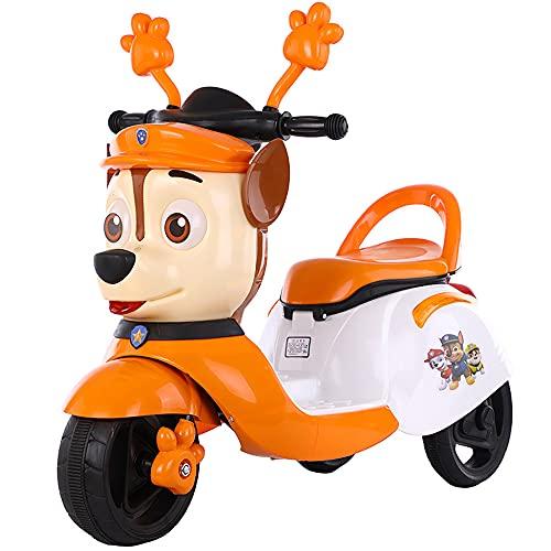QSYY Motocicleta Eléctrica para Niños, Juguete De Bicicleta con Batería 6V, Triciclo con Control Remoto Y Música, Regalo del Día Infantil Durante 3-8 Años,Naranja