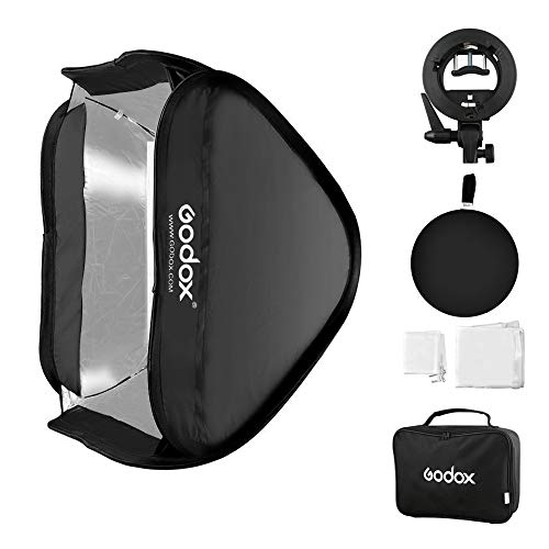 Godox Softbox 32x32inch/80x80cm UTEBIT Foldable Universal Softbox with S-Type Speedlite Bracket Bowens Mount Flash Speedlight for Portrait Product Fashion Professional Studio