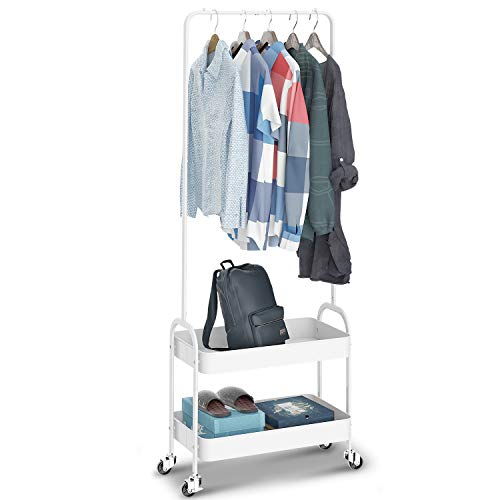 KINGRACK 2-in 1 Garment Rack Clothing Rack with 2 Tier Metal Basket Rolling Storage Cart Clothes Organizer Coat Rack Storage Stand on Wheels for Home Bedroom Laundry Small Place Entryway White