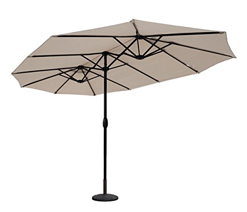 Sekey Aluminio Sombrilla parasol de doble juego para terraza jardín playa piscina patio diámetro 460 cm x 270 cm protector solar UV50+ crudo
